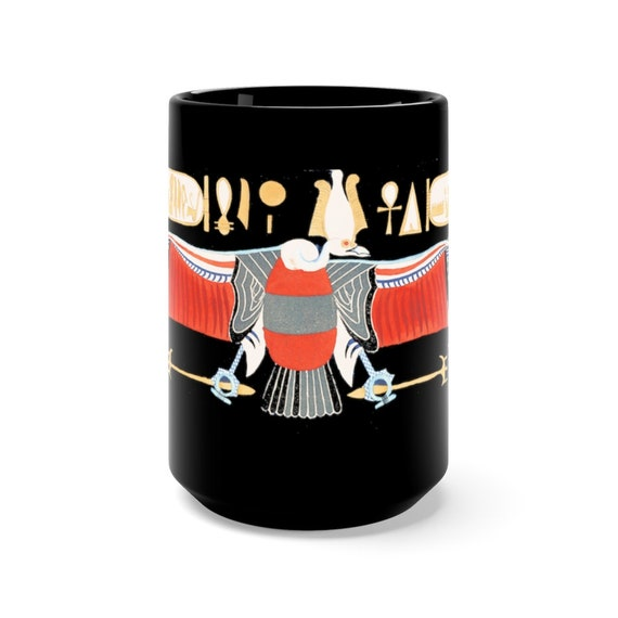 Ancient Egyptian Eagle 15oz Black Ceramic Mug, From The Kings Tombs In Thebes