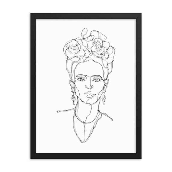"Frida Kahlo, 18""x24"" Framed Giclée Poster, Black Wood Frame, Acrylic Covering, Room Decor"