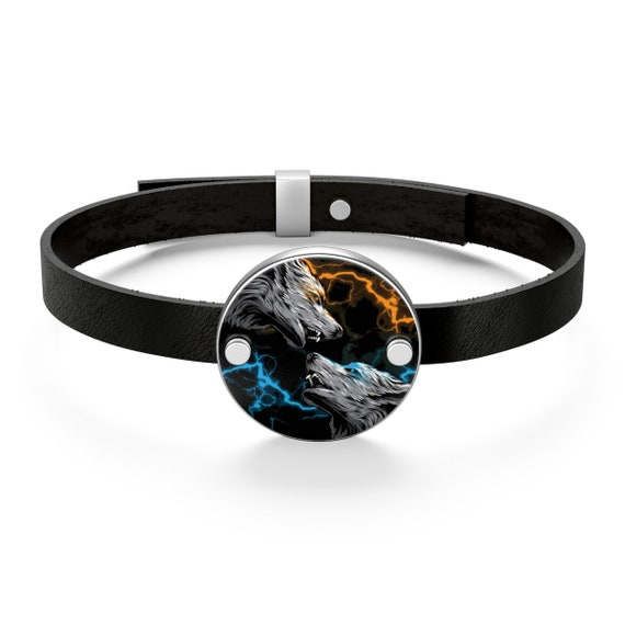 Elemental Attraction, Sterling Silver Leather Bracelet, Vintage Inspired, Two Wolves & Colored Lightning