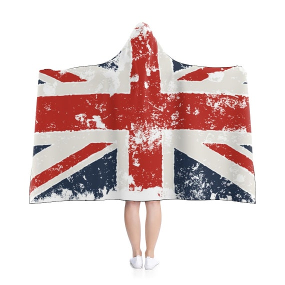 "Grunge United Kingdom Flag, Hooded Blanket, 80""x56"""