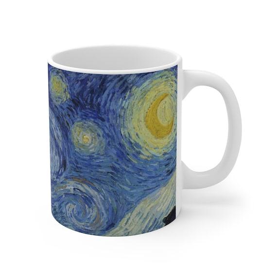 Starry Night, White Ceramic Mug, 11oz & 15oz, Vincent Van Gogh, Coffee, Tea