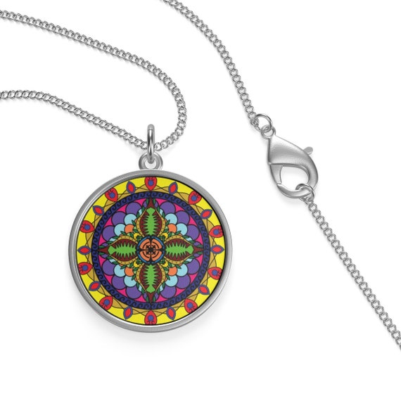 Colorful Cosmos Mandala, Sterling Silver Necklace, Vintage Inspired Spiritual/Meditation Symbol
