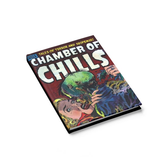 Chamber Of Chills, Hardcover Journal, Ruled Line, Opens Flat, Vintage Horror Comic Cover