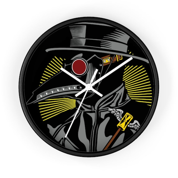 "Plague Doctor, 10"" Wall Clock, Vintage Inspired Steampunk Image"