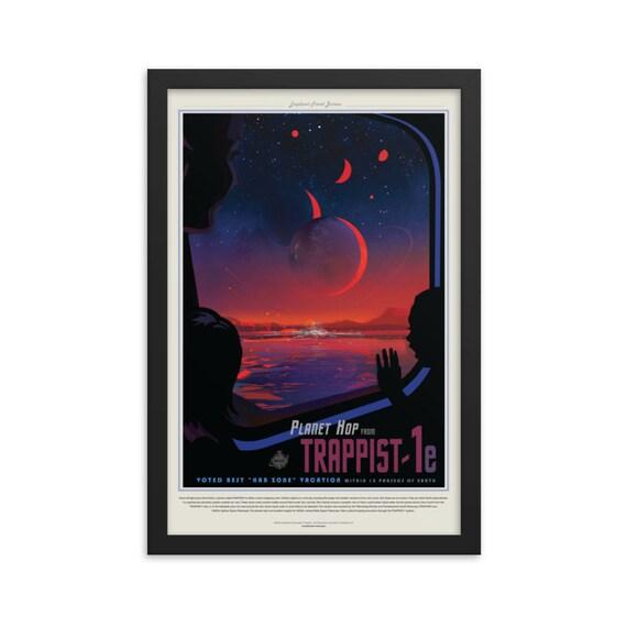 "Exoplanet Travel Bureau #7 of 7, 12"" x18"" Framed Poster, Black Wood Frame, Acrylic Covering, Fake Vintage/Retro Style NASA Travel Poster"
