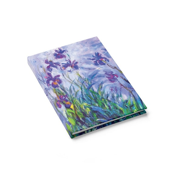 Lilac Irises Hardcover Journal, Ruled Line, Claude Monet, Notebook
