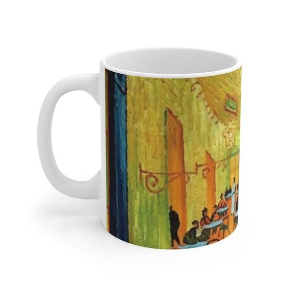 Cafe Terrace At Night, White Ceramic Mug, 11oz & 15oz, Vincent Van Gogh, Coffee, Tea