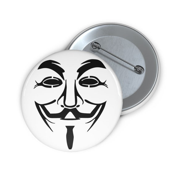 """Guy Fawkes, 2"""" Pin Button, Inspired From V For Vendetta Movie"""
