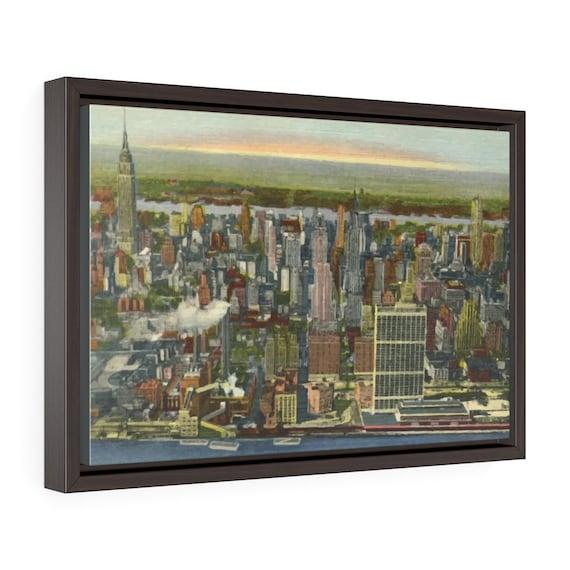 "Midtown Manhattan 1951, 18""x12"" Framed Gallery Wrap Canvas, New York, Vintage Postcard, Curt Teich"