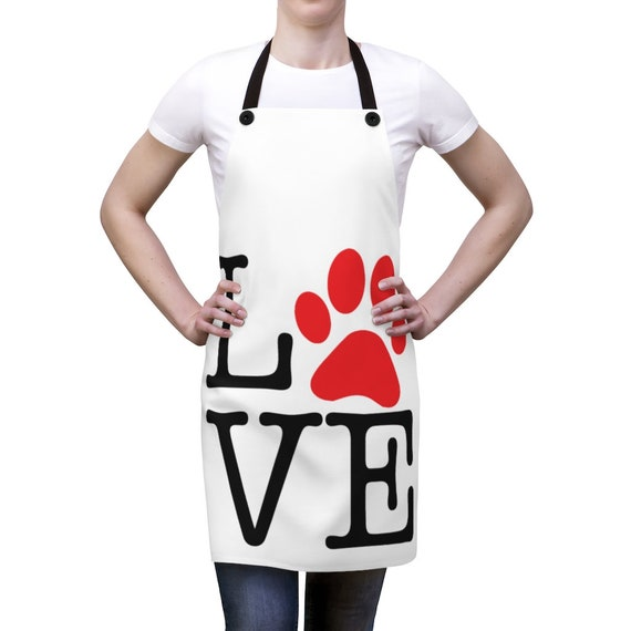 Love Paw Print, Kitchen Apron, I Love Dogs, I Heart Dogs