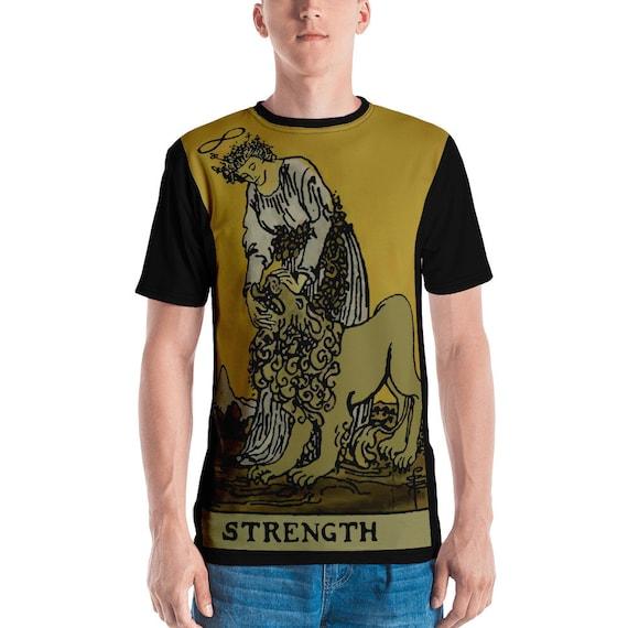 Strength Tarot Card, Unisex T-shirt, Vintage, Antique Illustration, AOP