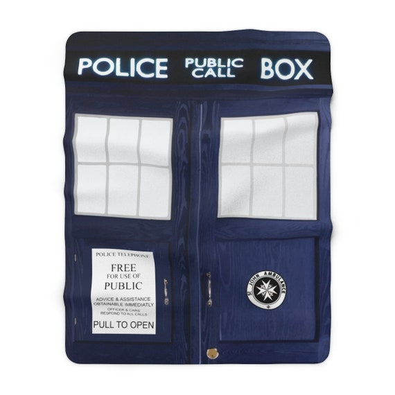"TARDIS Sherpa Fleece Blanket, 60""x80"", Inspired By BBC TV Show Doctor Who"
