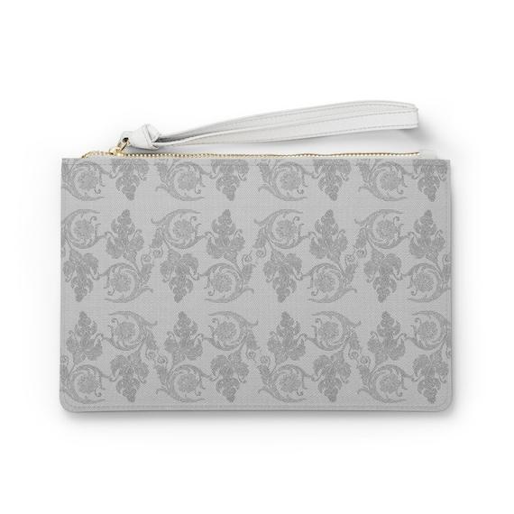 "Vintage Floral Lace Pattern 9""x6"" Vegan Leather Clutch Bag"