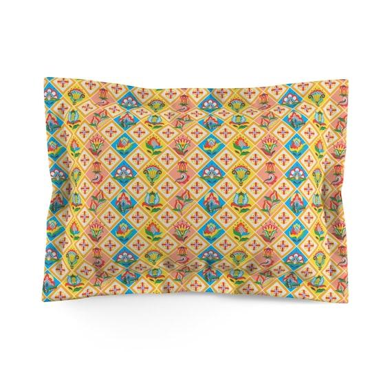 Folk Art Patchwork Quilt Pattern, Standard Pillow Sham, Farmhouse, Country Decor
