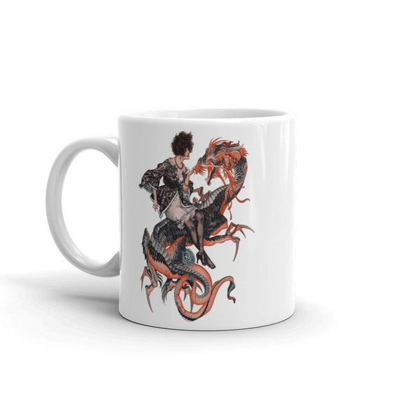 Lady Dragon Rider, Coffee Mug, Vintage Jazz Age Illustration
