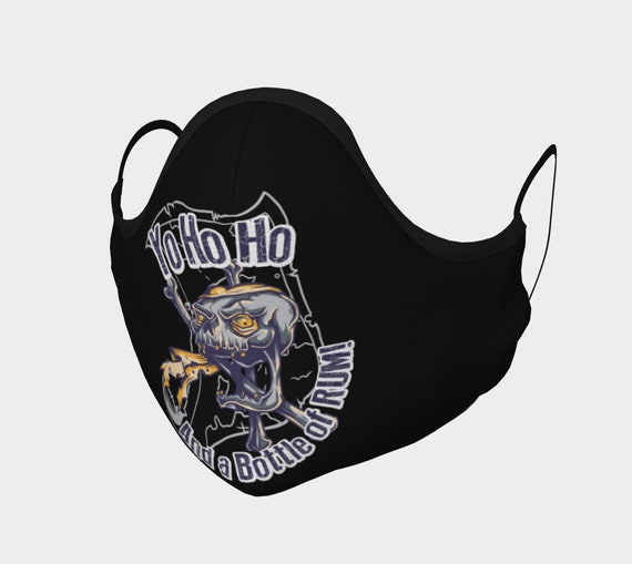 Pirate Skull, Face Mask With Filter Pocket, Filters Included, 7 Sizes, 100% Cotton, Yo Ho Ho And A Bottle Of Rum
