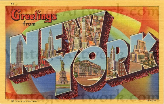 Greetings From New York Postcard Front, Digital Download, Curt Teich & Co. Publisher,  1934