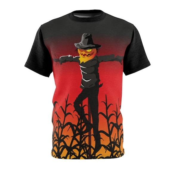 Scarecrow In Wheat Field Unisex T-shirt, Jack-O-Lantern, Halloween, All Hallows Eve