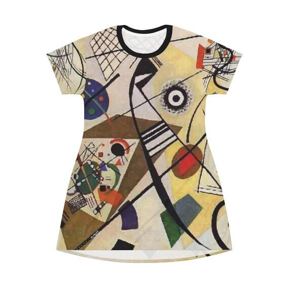 Long T-shirt AOP T-shirt Dress Comfy Sleep Shirt Long Flared Top Wassily Kandinsky Abstract Painting Red Chalkboard
