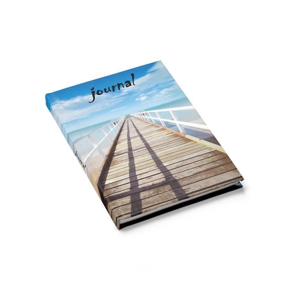 Infinity Pier Hardcover Journal, Ruled Line, Two Front Covers, Boardwalk, Ocean, Beach, Horizon, Notebook