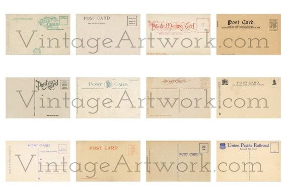 12 Unused Postcard Backs - Digital Images Of The Backs Of Antique Vintage Postcards, Circa 1900-1940.