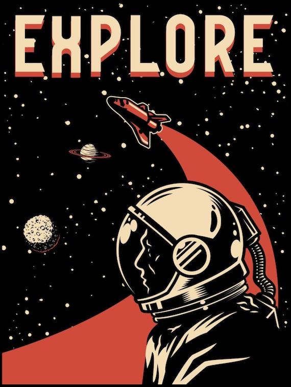 "Explore 18""x24"" Metal Print, Vintage Retro design, Space Fan, NASA Fan, Room Decor"