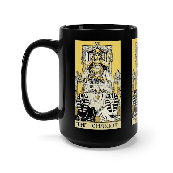 The Chariot, Black 15oz Ceramic Mug, Tarot Card, Major Arcana, From Vintage Rider-Waite Deck, Coffee, Tea