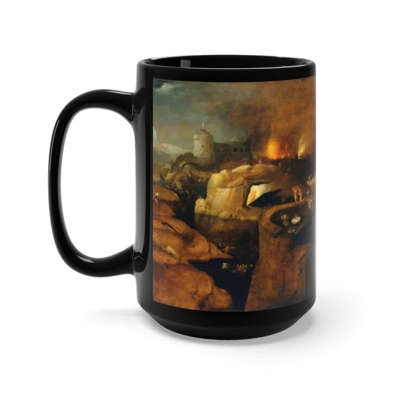 Descent Into Hell, Black 15oz Ceramic Mug, Painting By Follower Of Hieronymus Bosch, Circa 1550, Coffee, Tea