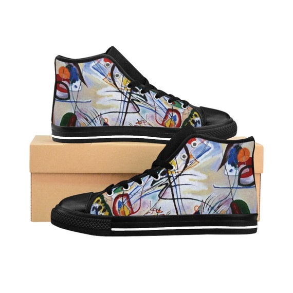 Wassily Kandinsky, Violet Wedge, Men's High-top Sneakers, Abstract
