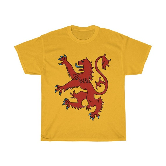 Lion Rampant of Scotland, Unisex Heavy Cotton T-shirt, 9 Colors, Royal Banner of the Royal Arms of Scotland, Scottish Pride