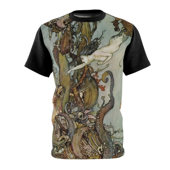 Davy Jones Locker, Crew Neck Shirt, Little Mermaid, Kraken, Vintage Illustration, Edmund Dulac, 1911, AOP