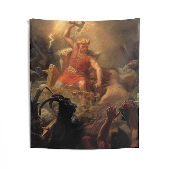 Thor Fights The Giants, Indoor Wall Tapestry, Vintage, Antique Image, Marten Eskil Winge, 1872