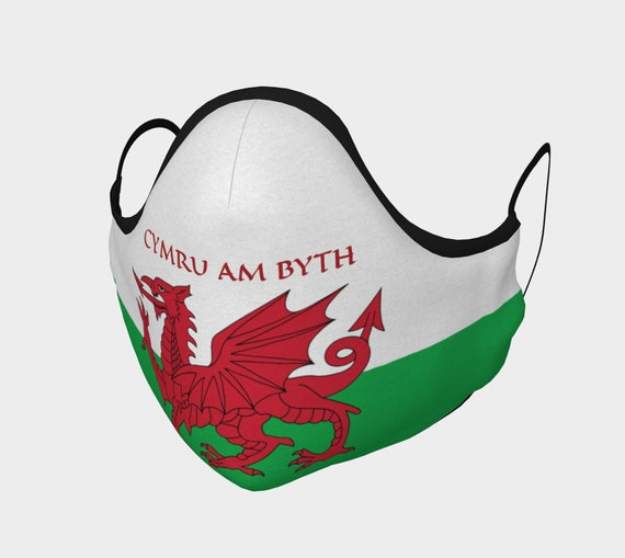 Cymru Am Byth, Face Mask, 7 Sizes, Filter Pocket, Filters, 100% Cotton, Free Worldwide Shipping, Wales Flag, Motto, Welsh Pride