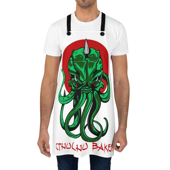 Cthulhu Bakes White Kitchen Apron, Inspired By H.P. Lovecraft's Mythos
