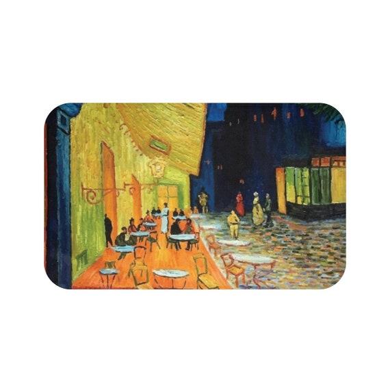 Cafe Terrace At Night, Microfiber Bath Mat, Vintage, Antique Painting, Vincent Van Gogh, 1888