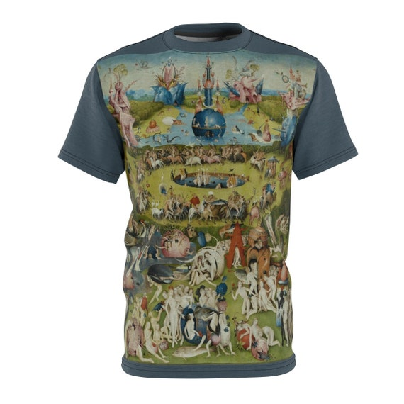 The Garden of Earthly Delights, Gray Unisex T-shirt, Surreal, Hieronymus Bosch, AOP