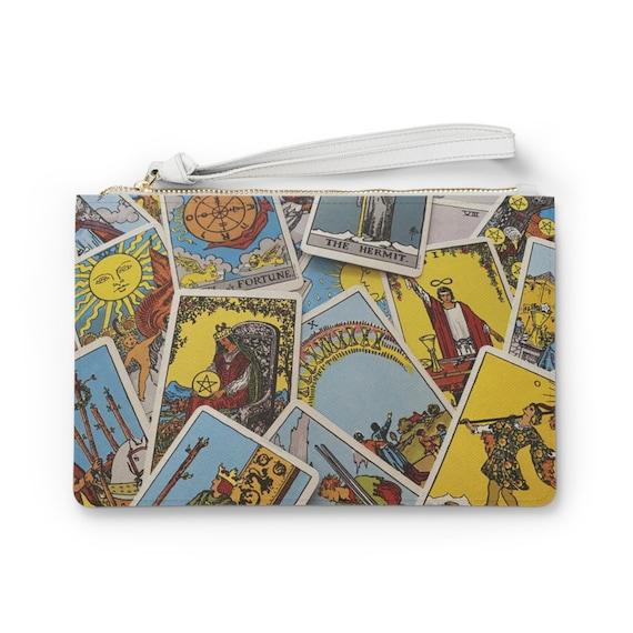 "Tarot Card 9""x6"" Vegan Leather Clutch Bag, Major & Minor Arcana From A Vintage Rider-Waite Deck"