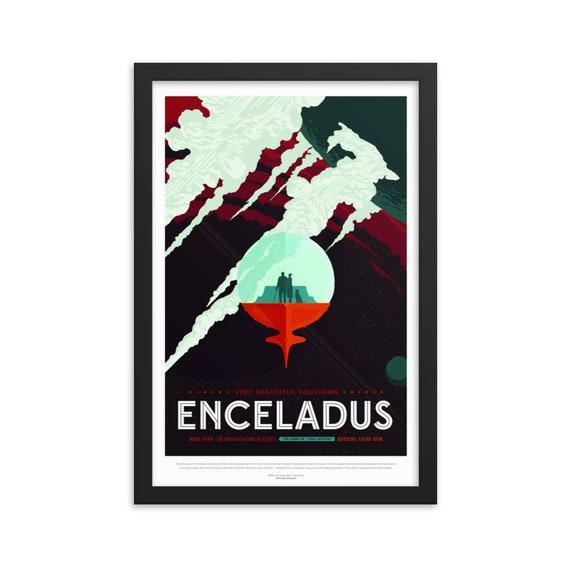 "Solar System: Enceladus, 12"" x18"" Framed Poster, Black Wood Frame, Acrylic Covering, Fake Vintage/Retro Style NASA Travel Poster, Room Decor"