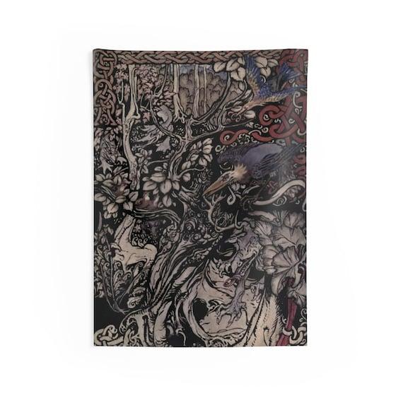 "Irish Fairy Tales, 26""x36"" Indoor Wall Tapestry, Vintage Illustration By Arthur Rackham"