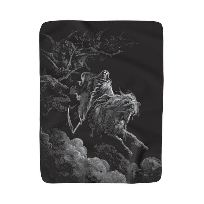 1865 Antique Illustration Vintage 50x60 Death On The Pale Horse Gustave Dore Sherpa Fleece Blanket