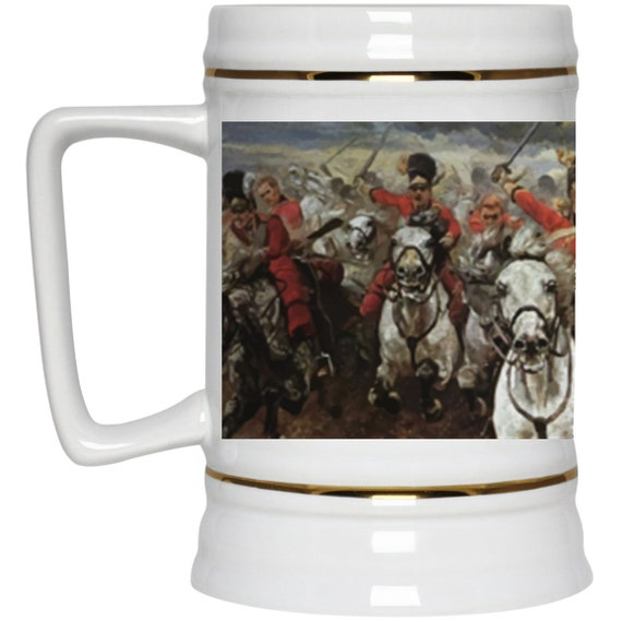 Scotland Forever! 22oz. Beer Stein, Charge of the Royal Scots Greys, Battle of Waterloo, Military History