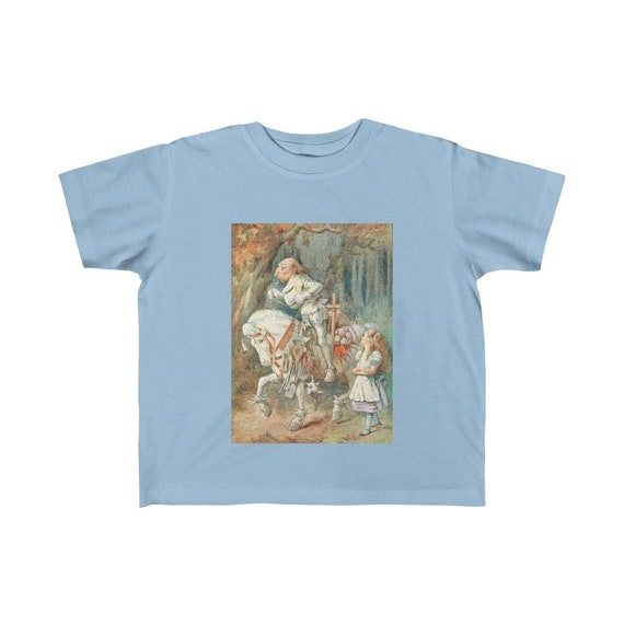Alice Meets The White Knight, Kid's Fine Jersey Tee, Vintage Illustration, 1911 Edition Alice's Adventures In Wonderland