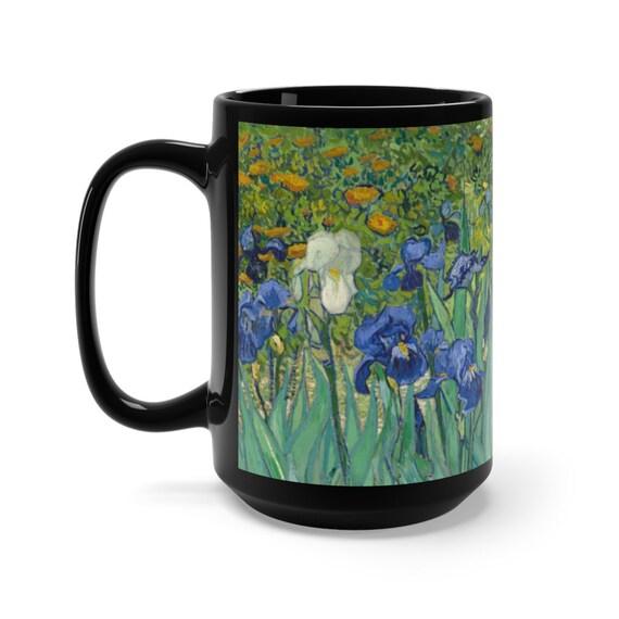 Irises, Black Ceramic Mug, 15oz, Vincent Van Gogh, Coffee, Tea