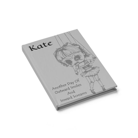 Creepy Doll Kate, Hardcover Journal, Ruled Line, Vintage Inspired Burlesque Show Marionette Puppet