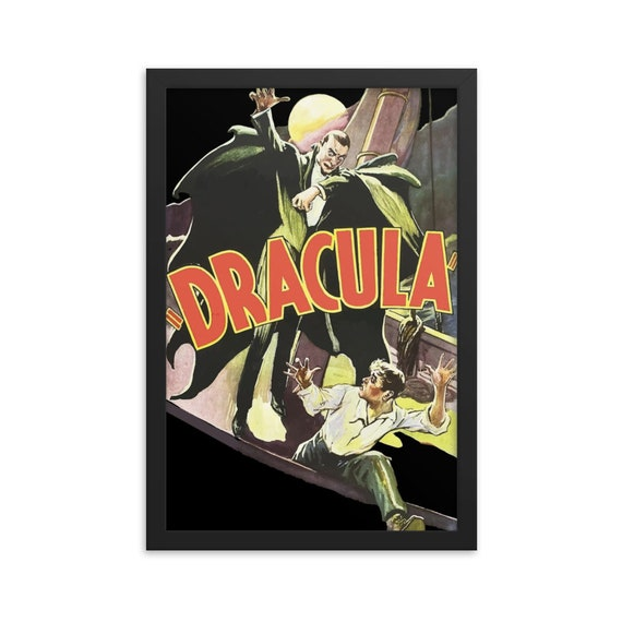 "Dracula, 12"" x18"" Framed Giclée Poster, Black Wood Frame, Acrylic Covering, 1931 Horror Movie Poster, Room Decor"