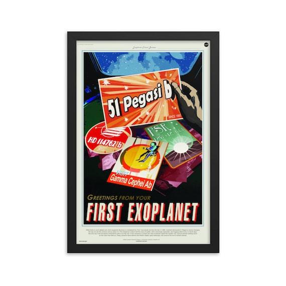 "Exoplanet Travel Bureau #2 of 7, 12"" x18"" Framed Poster, Black Wood Frame, Acrylic Covering, Fake Vintage/Retro Style NASA Travel Poster"