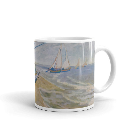Fishing Boats On The Beach, White Glossy Mug, Vintage, Antique Painting, Vincent Van Gogh, 1888