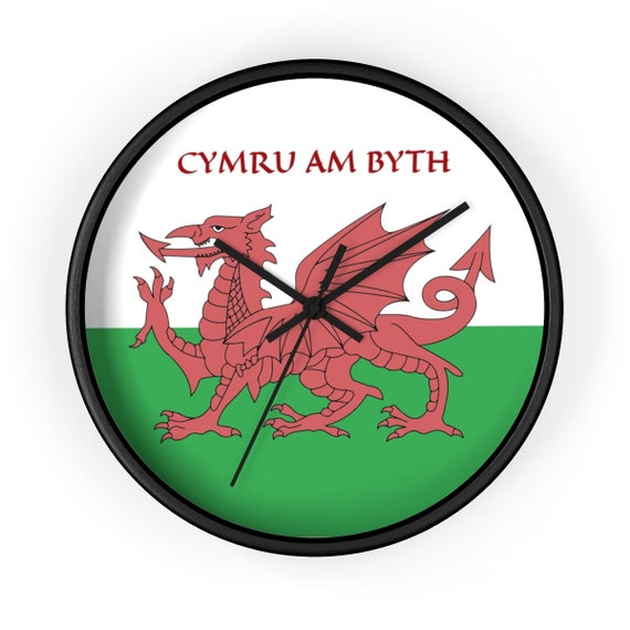 "Cymru Am Byth, 10"" Black Wall Clock, Red Dragon, Flag Of Wales, Welsh Motto, Welsh Pride"