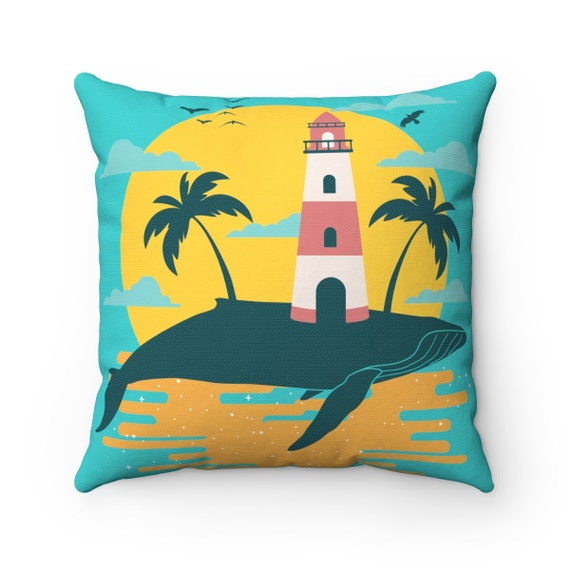 Turquoise Whale Island, Spun Polyester Square Pillow, Vintage Inspired Image, Lighthouse, Gulls, Palm Trees