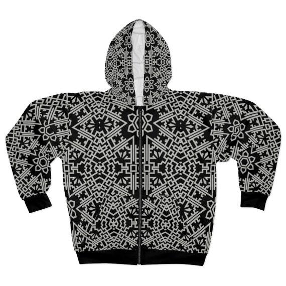 Gray Vintage Tribal Pattern, Unisex Zip Fleece Hoodie